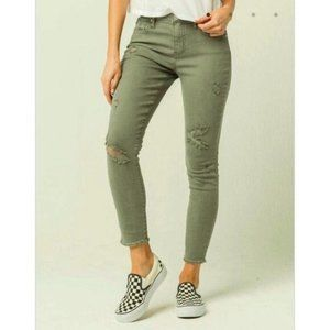 RSQ Jeans Khaki Green Baja Ankle Ripped Small